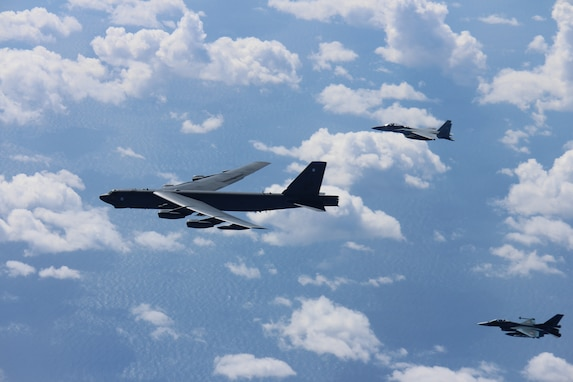 An Air Force B-52H Stratofortress bomber and a Japan Air Self-Defense Force F-15 and F-2 fighter execute a routine bilateral training mission over the East China Sea and the Sea of Japan, Sept. 26, 2018. This mission was flown in support of U.S. Indo-Pacific Command's Continuous Bomber Presence operations, which are key to improving combined interoperability, tactical skills and relationships. (Courtesy photo)