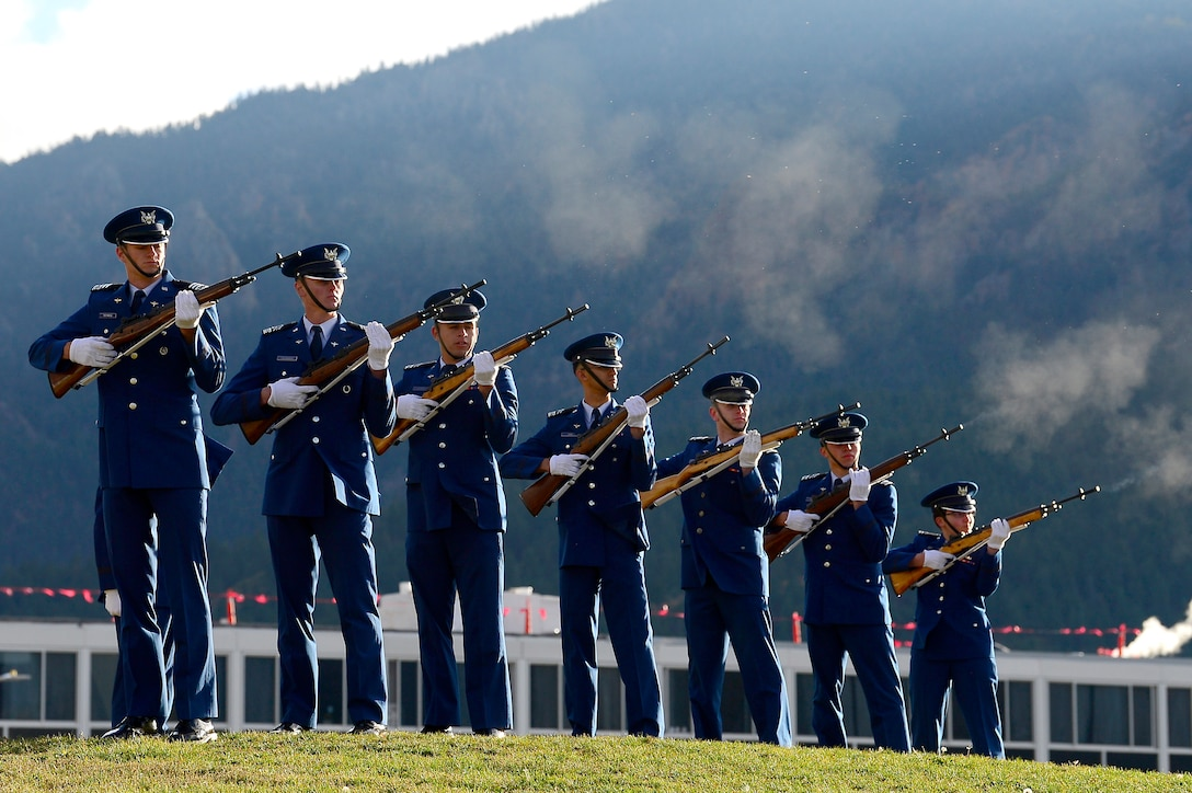 The Cadet Wing honors graduates that passed during this last year during a Homecoming Memorial Ceremony on September 28, 2018, at the U.S. Air Force Academy in Colorado Springs, Colo. Cadets recognize fallen alumni by calling out their name and rendering a final salute. (U.S. Air Force photo by Darcie L. Ibidapo)