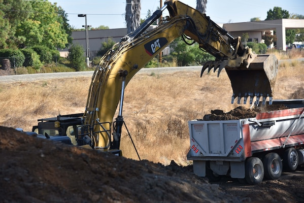 Repairs underway by the Corps' San Francisco District to a levee damaged by last year's winter storms in Pleasanton, Calif.