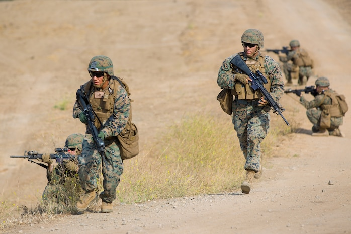 U.S. Marines with Bravo Company, 7th Engineer Support Battalion, Task Force Koa Moana (TF KM), participate in the TF KM Mission Rehearsal Exercise at Marine Corps Base Camp Pendleton, Calif., July 18, 2018. The exercise confirmed TF KM is capable of cross cultural interaction, instruction, and relationship building while training alongside partner nations in order to meet Theater Security Cooperation engagement objectives. (U.S. Marine Corps photo by Staff Sgt. Gabriela Garcia)