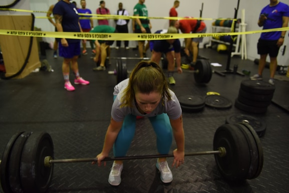 U.S. Air Force Airman 1st Class Haylie Belts, 39th Logistics Readiness Squadron quality assurance inspector, prepares to perform a deadlift during the Incirlik Throw Down CrossFit competition at Incirlik Air Base, Sept. 29, 2018.