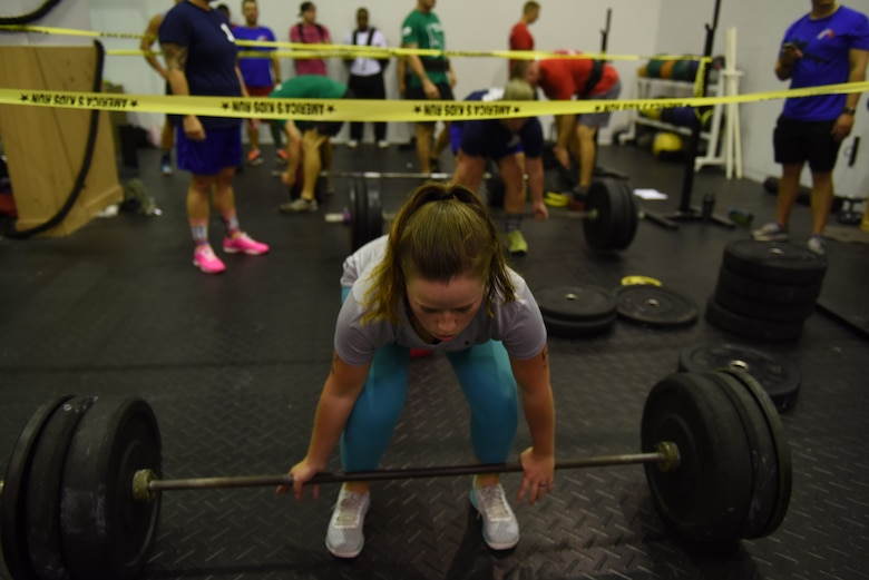 U.S. Air Force Airman 1st Class Haylie Belts, 39th Logistic Readiness Squadron quality assurance inspector, prepares to perform a deadlift during the Incirlik Throw Down CrossFit competition at Incirlik Air Base, Sept. 29 2018.