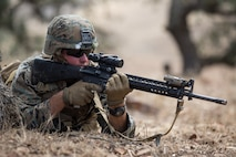 U.S. Marine Corps Cpl. Braiden M. Wadin, a combat engineer with Bravo Company, 7th Engineer Support Battalion, Task Force Koa Moana (TF KM), participates in a contact left attack during the TF KM Mission Rehearsal Exercise at Marine Corps Base Camp Pendleton, Calif., July 18, 2018. The exercise confirmed TF KM is capable of cross cultural interaction, instruction, and relationship building while training alongside partner nations in order to meet Theater Security Cooperation engagement objectives. (U.S. Marine Corps photo by Staff Sgt. Gabriela Garcia)