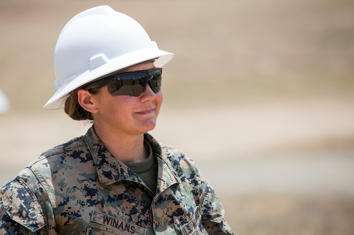 U.S. Marine Corps Cpl. Ashley N. Winans, a combat engineer with Bravo Company, 7th Engineer Support Battalion, Task Force Koa Moana (TF KM), participates in the construction of a South West Asia hut during the TF KM Mission Rehearsal Exercise, at Marine Corps Base Camp Pendleton, Calif., July 18, 2018. The exercise confirmed TF KM is capable of cross cultural interaction, instruction, and relationship building while training alongside partner nations in order to meet Theater Security Cooperation engagement objectives. (U.S. Marine Corps photo by Staff Sgt. Gabriela Garcia)