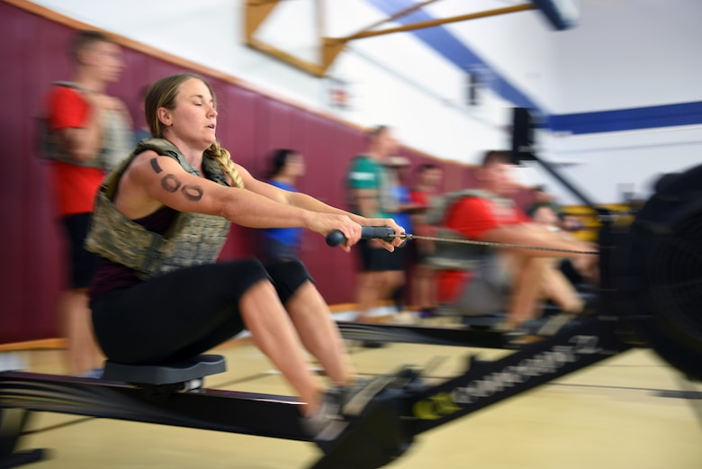 U. S. Air Force Capt. Theresa Whittler, 39th Medical Diagnostic Squadron patient care manager, tackles the rowing event during the Throw Down CrossFit competition at Incirlik Air Base, Sept. 29, 2018.