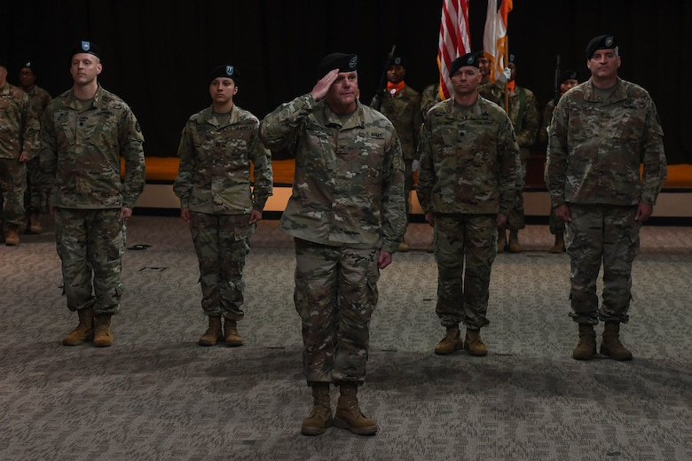 U.S. Army Col. Edward Boroweic salutes as the new commander of the 93rd Signal Brigade during a change of command ceremony at Joint Base Langley-Eustis, Virginia, Oct. 4, 2018. Boroweic received command from Col. Kevin Litwhiler during the ceremony. (U.S. Air Force photo by Senior Airman Derek Seifert)