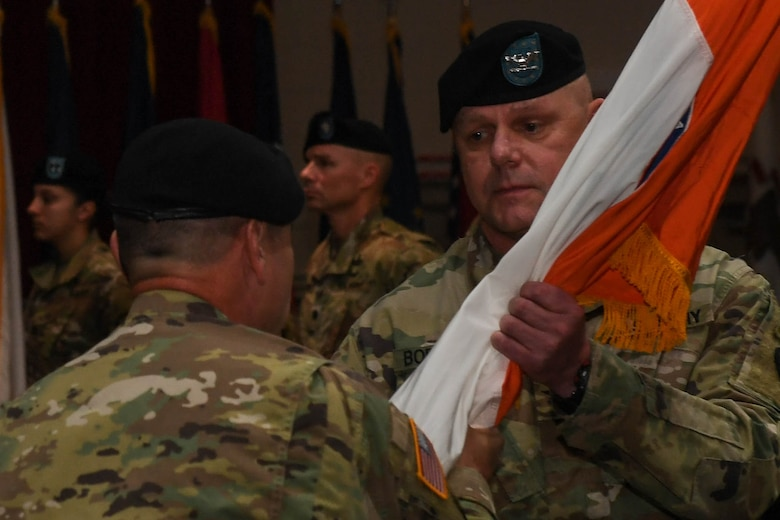 U.S. Army Col. Edward Boroweic, 93rd Signal Brigade incoming commander, assumes command of the 93rd Sig. Bde., during a change of command ceremony at Joint Base Langley-Eustis, Virginia, Oct. 4, 2018. U.S. Army Brig. Gen. Thomas Pugh, 7th Sig. Command (Theater) commanding general presided over the ceremony. (U.S. Air Force photo by Senior Airman Derek Seifert)