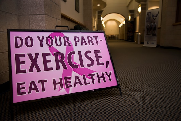 A sign promotes breast cancer awareness at the Losano Fitness Center on Laughlin Air Force Base, Texas, Oct. 5, 2018. About one in eight women in the U.S. will develop invasive breast cancer over the course of her lifetime, according to the National Breast Cancer Foundation. Although breast cancer is more commonly found in women, less than one percent of breast cancer cases develop in men. (U.S. Air Force photo by Airman 1st Class Marco A. Gomez)