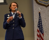 Col. Leslie Maher, 375th Air Mobility Wing commander, speaks during Scott Air Force Base's 33rd annual Retiree Appreciation Day, Oct. 6, 2018. Retirees were given the opportunity obtain information from several booths including the American Legion, Red Cross, Veterans of Foreign Wars, and Airman and Family readiness center as well as have the ability to receive immunizations and update identification cards.(U.S. Air Force Photo by Airman 1st Class Chad Gorecki)