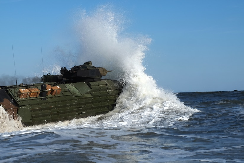 An amphibious assault vehicle with the 24th Marine Expeditionary Unit enters the water at Camp Lejeune, N.C.
