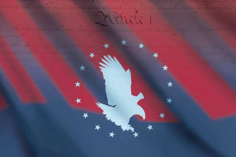 Graphic of an eagle encircled by stars on a red and blue overlay of text from the Constitution.
