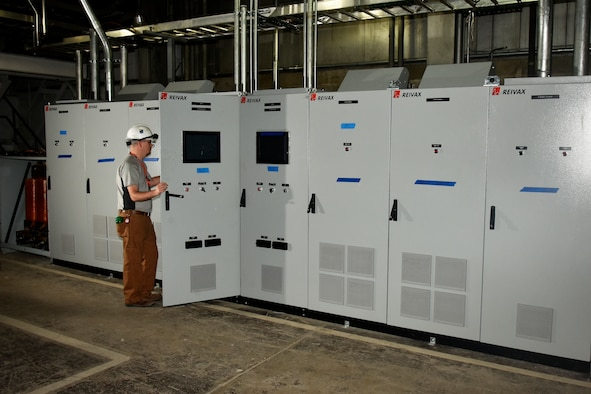 NAS Electrical Engineer Drew Owens checking out new exciter installation for PWT upgrade.