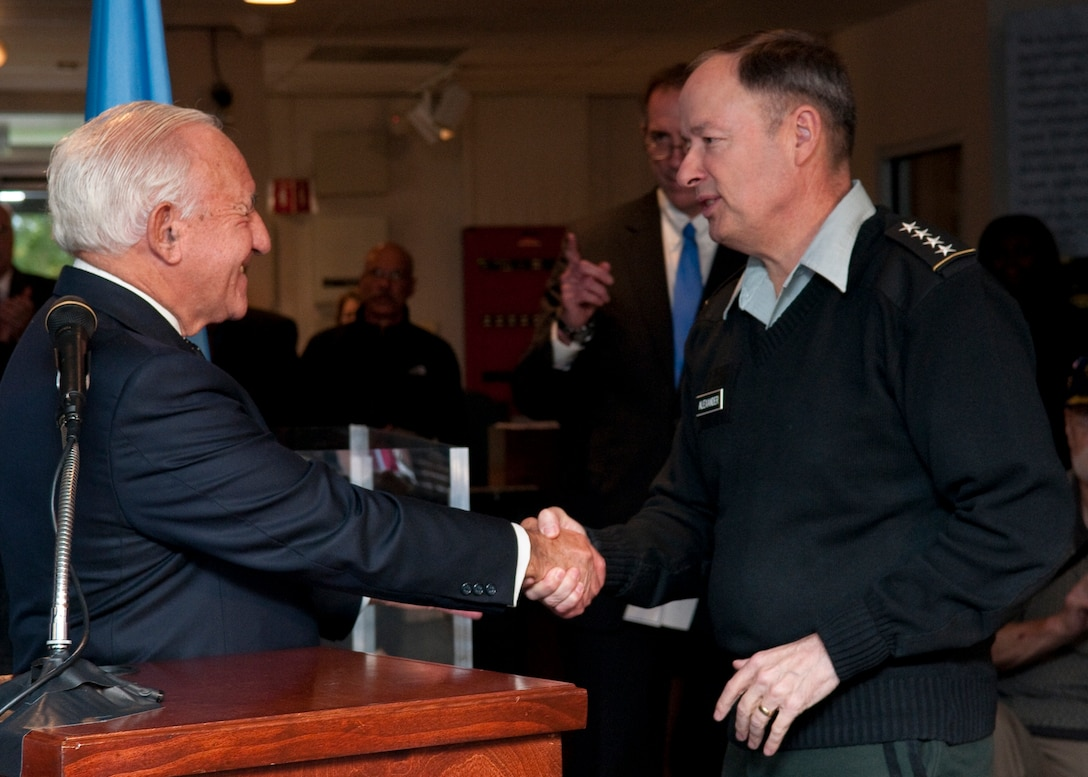 Photo of Dr. Kahn and General Alexander at the unveiling of the National Cryptologic Museum Dr. David Kahn Collection
