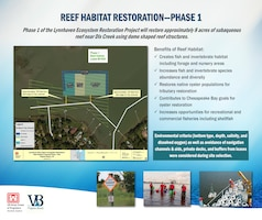 Phase 1 of the Lynnhaven Ecosystem Restoration Project will restore approximately 8 acres of subaqueous reef near Dix Creek using dome shaped reef structures.