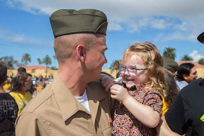 The new Marines of Hotel Company, 2nd Recruit Training Battalion, reunite with their loved ones during Family Day at Marine Corps Recruit Depot San Diego, Oct 4
