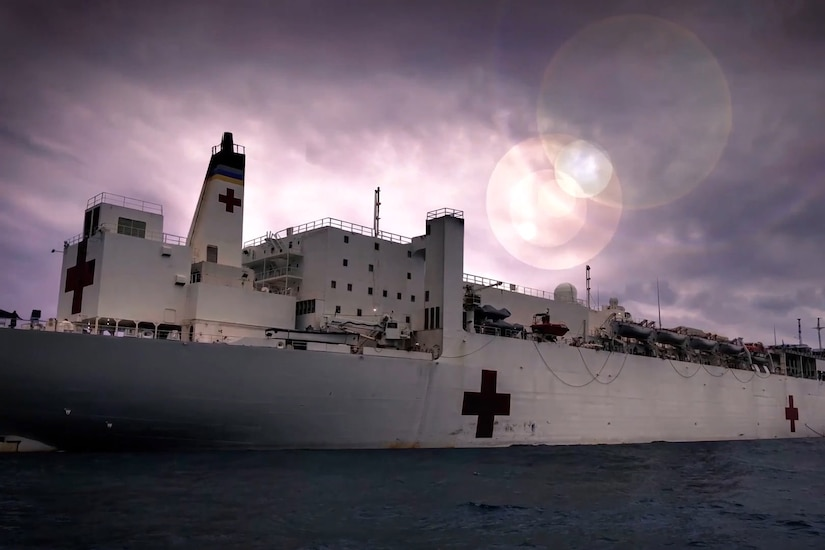 The USNS Comfort at sea