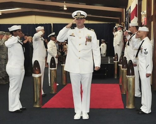 ANDERSEN AIR FORCE BASE, Guam (Oct. 5, 2018) – Cmdr. William Eastham is piped ashore during a change of command ceremony for Helicopter Sea Combat Squadron 25 at the Sunrise Conference Center at Andersen Air Force Base Oct. 5. During the ceremony, Cmdr. Frank Loforti relieved Eastham as commanding officer. (U.S. Navy photo by Alana Chargualaf)