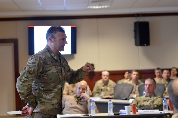 Combined Force Air Component Commander Lt. Gen. Joseph T. Guastella gives closing remarks Sept. 27, 2018 at Al Udeid Air base, Qatar during the bi-annual Weapons and Tactics Conference. This conference brings tactical experts from across the area of responsibility discussed current issues and provide solutions for challenges facing the U.S. Air Force, joint services, and coalition partners. (U.S. Air Force photo by Staff Sgt. Caitlin Conner)