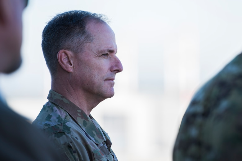 U.S. Air Force Maj. Gen. John Wood, Third Air Force commander, listens to a brief during an immersion tour of the 86th Airlift Wing Oct. 5, 2018, at Ramstein Air Base, Germany. Wood took command of the Third Air Force Sept. 7, 2018. (U.S. Air Force photo by Senior Airman Devin M. Rumbaugh)