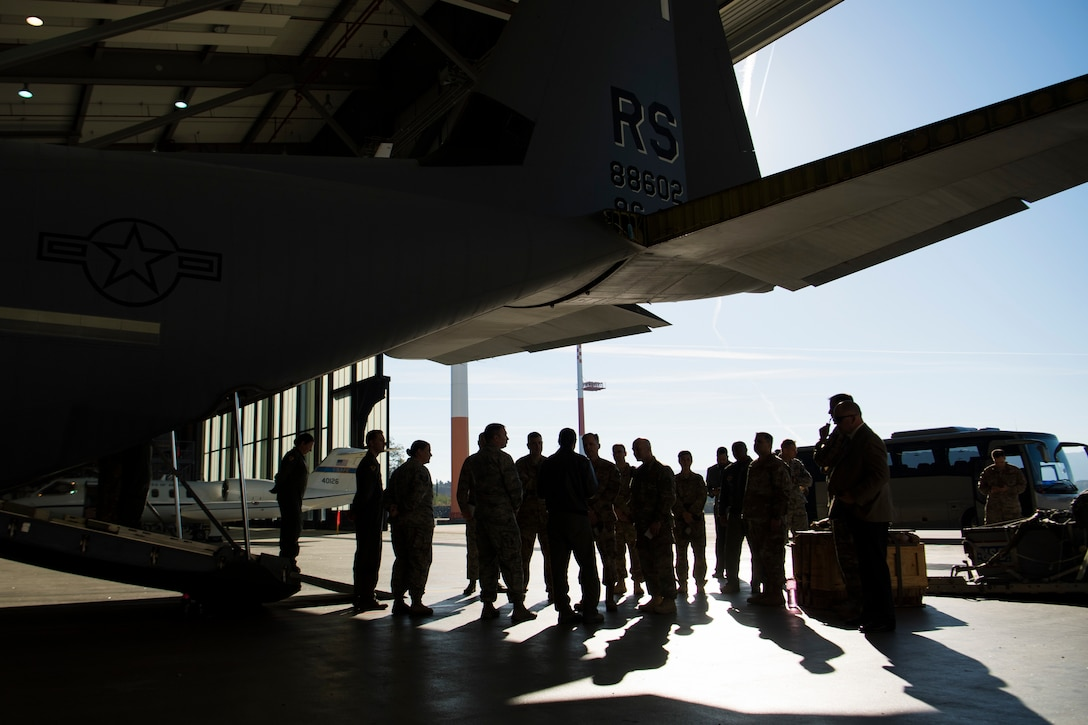 Leadership teams from the Third Air Force are briefed by members of the 86th Aeromedical Evacuation Squadron during an immersion tour of the 86th AW Oct. 5, 2018, at Ramstein Air Base, Germany. Airmen spoke on the part their units play in Ramstein's diverse mission. (U.S. Air Force photo by Senior Airman Devin M. Rumbaugh)