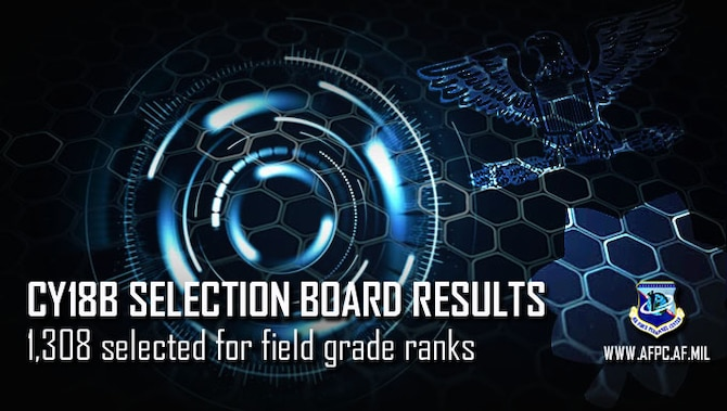 CY18B selection board results; 1,308 selected for field grade ranks