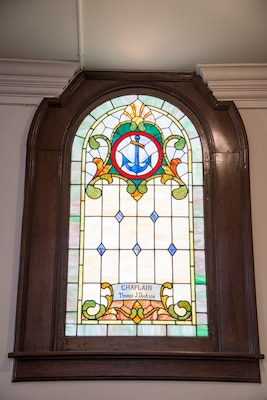 One of the distinctive features of the chapel includes 22 stained glass windows and four stained glass fan lights. The stained glass windows and fan lights, installed between 1929-31, commemorate the service of various service members, including those Union veterans who fought in the Civil War and various military units and groups and veterans organizations. Some of the windows are memorials to individuals, including Chaplains Thomas Dickson and Edmund Easterbrook.