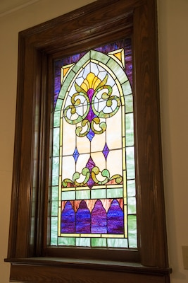 An example of the stained glass windows inside the Gift Chapel at Joint Base San Antonio-Fort Sam Houston.