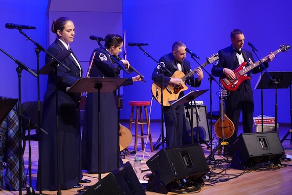 Members of Celtic Aire during their main stage performance at the 2018 Celtic Classic Festival in Bethlehem, PA