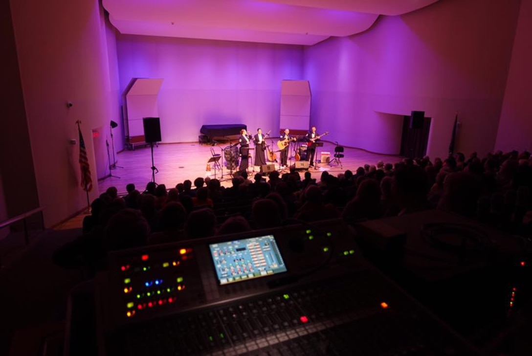 The view from Master Sgt. Mark Hannah's soundboard during Celtic Aire's Saturday performance