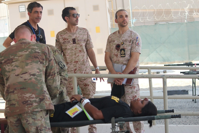 Area Support Group-Kuwait hosted a Mass Casualty Training Exercise at Camp Arifjan, Kuwait, September 26, 2018. More than 20 elements participated in the event, to include members of the Kuwait Ministry of Defense North Medical Military Complex. They observed processes in the care of patients at the combat support hospital.