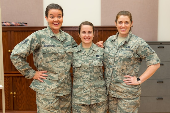 The Singing Sergeants newest sopranos, Technical Sergeants Katie Baughman, Adrienne Kling, and Nicole Vander Does