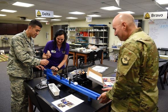 U.S. Air Force Col. Ricky Mills, 17th Training Wing commander, and STARBASE Teacher, Teresa Bertolio, launch a golf ball at Col. Robert Ramirez, 17th TRW vice commander, at the one-year anniversary event of the STARBASE program at the STARBASE facility on Goodfellow Air Force Base, Texas, Oct. 10, 2018. Bertolio showed Mills and Ramirez a brief run through of what a STARBASE student learns. (U.S. Air Force photo by Staff Sgt. Joshua Edwards/Released)