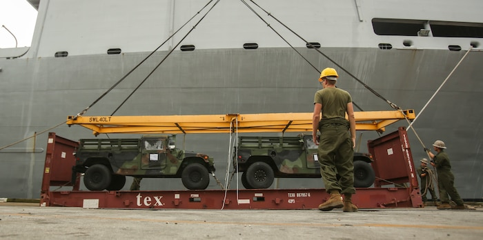 U.S. Marines with II Marine Expeditionary Force prepare to maneuver vehicles aboard USNS Wright (T-AVB 3) before embarkation to Norway at the Port of Morehead City in Beaufort, N.C., Sept. 28, 2018. These vehicles will be used as part of II MEFs participation in the NATO-led Exercise Trident Juncture 18 in Norway, Sweden, Finland, and Iceland. Trident Juncture 18 enhances the U.S. and NATO Allies' abilities to work together collectively to conduct military operations under challenging conditions. Trident Juncture will include more than 14,000 U.S. service members and 31 Allied and partner nations, totaling more than 40,000 NATO troops. (U.S. Marine Corps photo by Lance Cpl. Samuel Lyden)