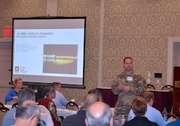 Lt. Col Christian Dietz, Walla Walla District Commander, gave the opening remarks for the 2018 Industry Day conference held Oct. 10, at the Marcus Whitman Hotel and Conference Center in Walla Walla, Washington. District personnel presented informational briefings, discussed upcoming contracting opportunities and processes, and a panel of District staff members involved with reviewing contract proposals answered questions posed by attendees.