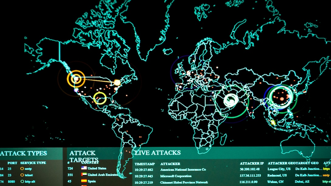 A map pinpointing cyber attacks.