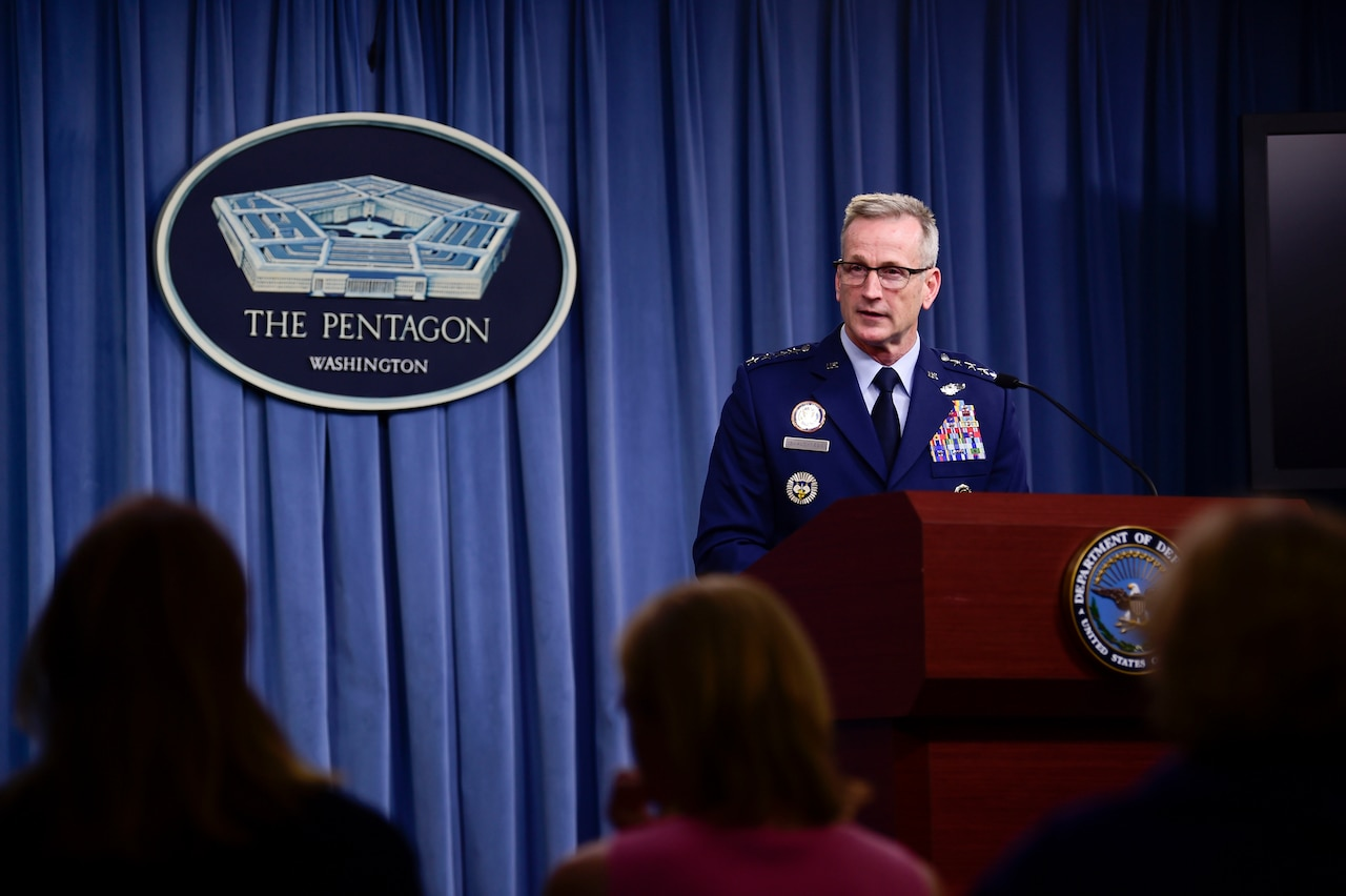 Air Force Gen. Terrence J. O'Shaughnessy, commander, United States Northern Command and North American Aerospace Defense Command, briefs the media about Hurricane Michael at the Pentagon.