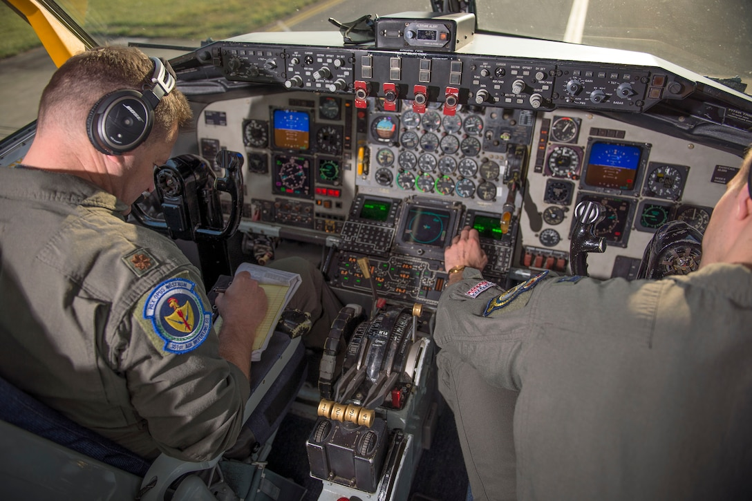 U.S. Air Force Maj. Steven Strasbaugh, and Capt. Zachary Overbey, 351st Air Refueling Squadron pilots, perform pre-flight checks on the KC-135 Stratotanker prior to a mission for a large forces exercise, at RAF Mildenhall, England, Oct. 10, 2018. RAF Lakenheath hosted a large forces exercise that included F-22 Raptors from Joint Base Langley-Eustis, Va., F-15E Strike Eagles from RAF Lakenheath and F/A-18 Super Hornets from the Carrier Air Wing from USS Harry S. Truman (CVN-75). (U.S. Air Force photo by Staff Sgt. Christine Groening)