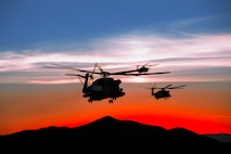 U.S. Marine Corps CH-53E Super Stallion aircraft assigned to Marine Aviation Weapons and Tactics Squadron One conduct flight operations during a long range raid in support of Weapons and Tactics Instructor course 1-19 in Yuma, Arizona, Sept. 28, 2018. WTI is a seven-week training event hosted by MAWTS-1 which emphasizes operational integration of the six functions of Marine Corps aviation in support of a Marine air-ground task force. WTI provides standardized advanced tactical training and certification of unit instructor qualifications to support Marine aviation training and readiness, and assists in developing and employing aviation weapons and tactics.
