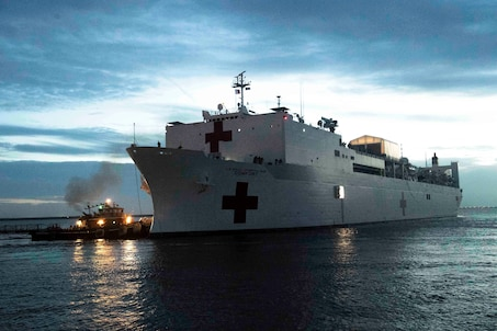 U.S. Navy hospital ship USNS COMFORT departs Norfolk, VA.