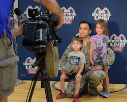 The USO of Northern Ohio and Feld Entertainment, producers of Marvel Universe LIVE!, gave children of 910th Airlift Wing Reserve Citizen Airmen a taste of what it's like to be a superhero on Oct. 10, 2018, in the fitness center at Youngstown Air Reserve Station.