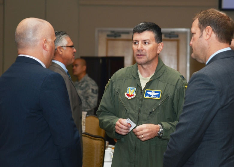 "U.S. Air Force Brig. Gen. George ""Marty"" Reynolds, vice commander, Twenty-Fifth Air Force, speaks with attendees at the Armed Forces Communications and Electronics Association (AFCEA) luncheon Sept. 18, 2018."