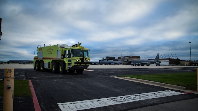 A U.S. Air Force fire protection truck assigned to the 128th Air Refueling Wing Fire Department sits on the ramp ready for response, Milwaukee, Wisconsin, Oct. 11, 2018.