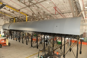 Installation of the KC-46A Fuselage Trainer or FuT, is nearing completion and will be ready to train aircrews starting Dec. 5, at Pease Air National Guard Base, Sept. 17, 2018. The FuT will primarily be used for training aircrews in preparation for working in the KC-46A airframe. (Photo by Master Sgt. Thomas Johnson, 157th ARW Public Affairs)