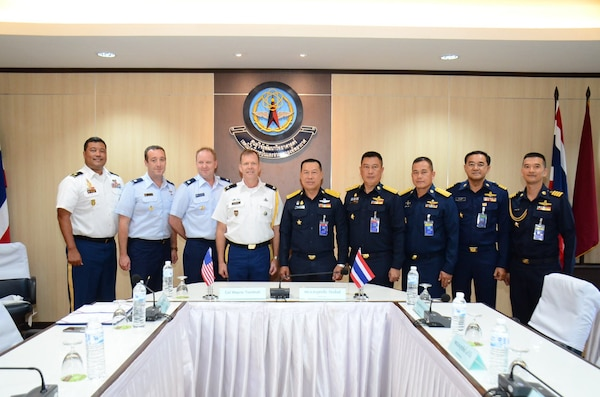 Royal Thailand Air Force Air Marshal Yuttachai Watcharasing (center) and U.S. Army Col. Wayne Turnbull, senior defense official and defense attaché to Thailand (4th from left), along with Royal Thailand Air Force and U.S. Embassy in Thailand representatives celebrate the signing of an agreement for space situational awareness services and data, Oct. 1, 2018, in Thailand. Agreements like these bolsters the United States and Thailand's awareness in the space domain. (Courtesy Photo)