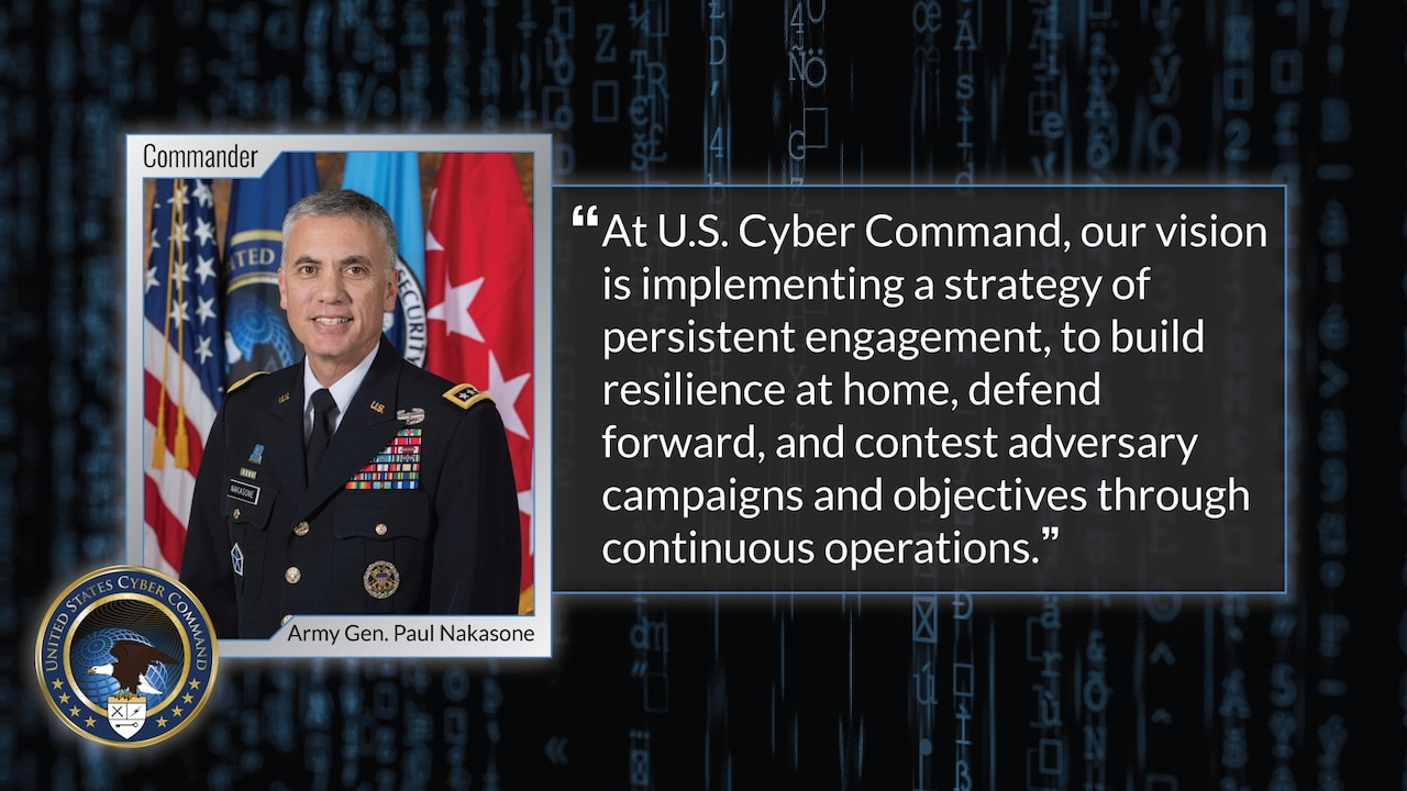 Quotation from Cybercom commander and his photo.