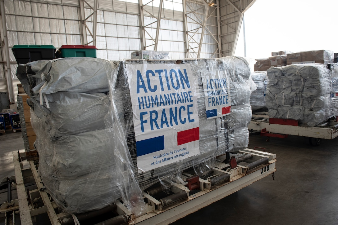 A picture taken of a pallet from France Oct. 9, 2018 is symbolic to the multinational participation during the on-going humanitarian efforts staged out of Balikpapan and Palu, Indonesia.