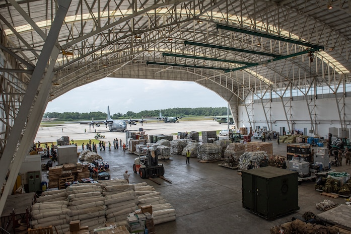 A bird's-eye view of the airport hangar in Balikpapan, Indonesia Oct. 9, 2018.