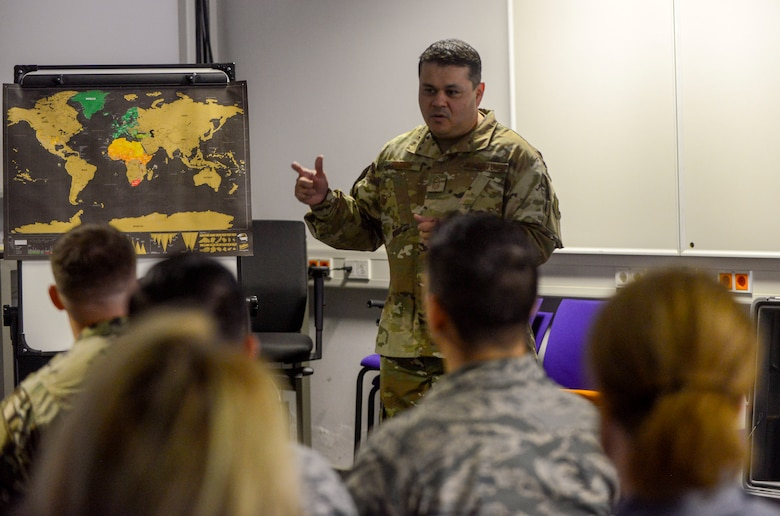 U.S. Air Force Chief Master Sgt. Ernesto J. Rendon Jr., 86th Airlift Wing command chief, talks to Airmen of the 86th Aircraft Maintenance Squadron during an immersion tour of the 86th Maintenance Group on Ramstein Air Base, Germany, Oct. 9, 2018. Rendon and Brig. Gen. Mark R. August, 86th AW commander, used the immersion as a way to get a better understanding of the 86th MXG's capabilities as well as a way for Airmen to ask questions directly to the wing leaders. (U.S. Air Force photo by Staff Sgt. Timothy Moore)