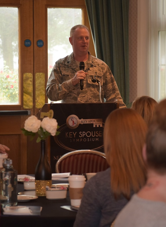 U.S. Air Force Chap. (Lt Col.) Ronald Ragon, 100th Air Refueling Wing chaplain, gives an opening welcome for the third annual Key Spouses Symposium hosted by Team Mildenhall Key Spouses at RAF Mildenhall, England, Oct. 4, 2018. More 250 spouses attended the third annual Key Spouses Symposium, where they shared ideas and strategies that worked for their units, and discussed steps to more effectively support for their squadron. (U.S. Air Force photo by Airman 1st Class Alexandria Lee)