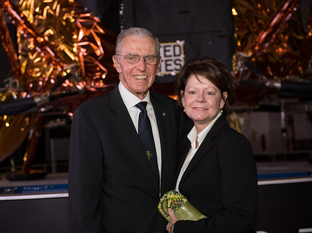 """Retired Major Gen Joe Engle, former U.S. Air Force pilot and NASA astronaut, attends the premiere of film """"First Man"""" at the Smithsonian National Air and Space Museum, Washington, D.C., Oct. 4, 2018. Engle, alongside Airmen assigned to the Air Force Public Affairs Entertainment Liaison office, partnered with film creators to project and protect the image of the U.S. Air Force within the global entertainment environment.  (NASA photo by Aubrey Gemignani)"""